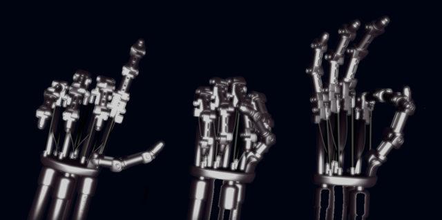 illustration des lettres LSF effectué par main de robot style Terminator